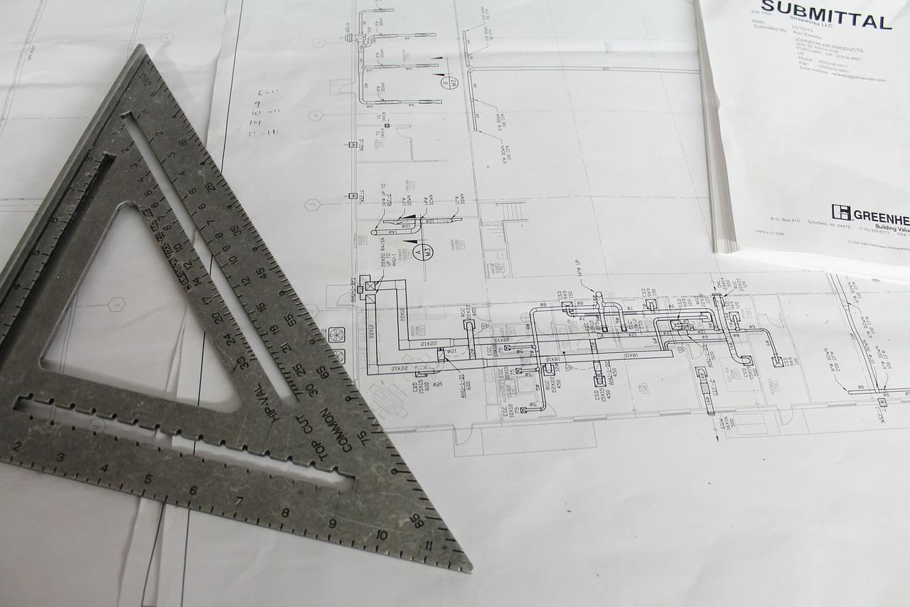 Construction plan with triangle