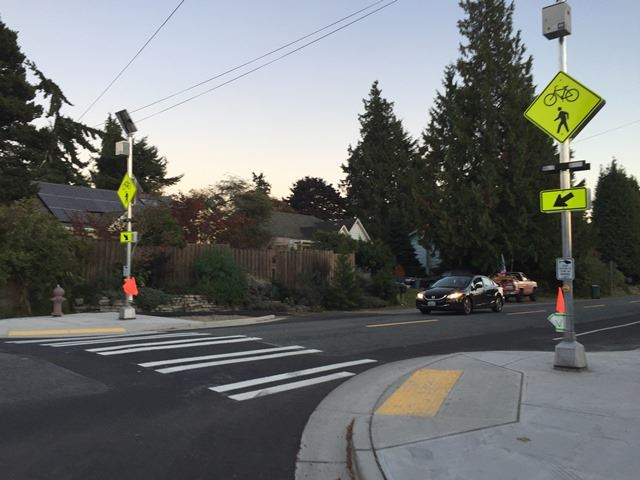 Pedestrian-Activated Flashing Lights and Crosswalk - Seattle